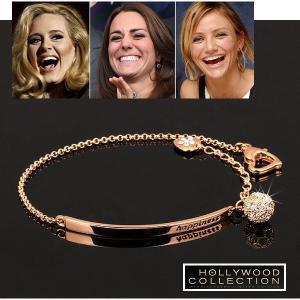 ブレスレット 幸運 ハッピー Happy ピンクゴールド ハリウッド セレブ コレクション|celeb-cz-jewelry