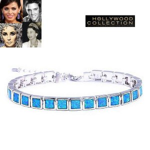 ブレスレット オパール テニス ブレスレット 10月誕生石 ブルーオパール ハリウッド コレクション celeb-cz-jewelry