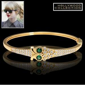 バングル ブレスレット フクロウ 18金 ゴールド エメラルド スワロフスキー テイラー スウィフト コレクション|celeb-cz-jewelry