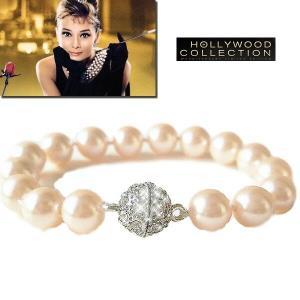 パール ブレスレット 10mm 結婚式 南洋 ピンク シェルパール パーティ「ティファニーで朝食を」オードリー ヘップバーン コレクション|celeb-cz-jewelry