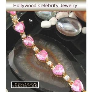 ブレスレット ピンクダイヤモンド ハート 18金 テニス ブレスレット|ハリウッド セレブ コレクション  |celeb-cz-jewelry