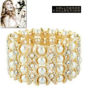 パール ブレスレット ブライダル 4連 18金 結婚式 パーティ アールデコ サラ ジェシカ パーカー コレクション|celeb-cz-jewelry