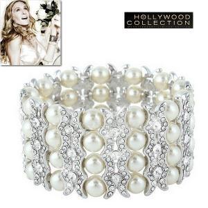 パール ブライダル ブレスレット 4連 結婚式 パーティ アールデコ サラ ジェシカ パーカー コレクション|celeb-cz-jewelry
