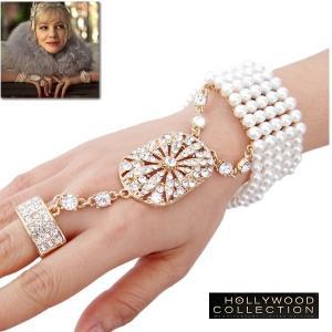 パール ブライダル ブレスレット リング セット  ゴールド アールデコ 映画「華麗なるギャツビー」 キャリー マリガン コレクション|celeb-cz-jewelry