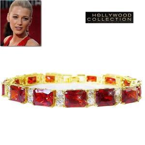 ブレスレット ルビー レッド 18金 テニスブレスレット エメラルドカット ブレイク ライブリー コレクション celeb-cz-jewelry