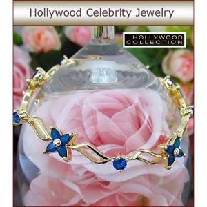 ブレスレット サファイア ブルー 18金 フラワー 花 ブレスレット ハリウッドセレブ コレクション celeb-cz-jewelry