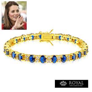 ブレスレット サファイア ブルー ゴールド テニス ブレスレット|キャサリン妃 ロイヤルコレクション|celeb-cz-jewelry