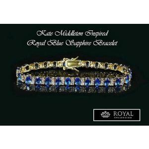 ブレスレット サファイア ブルー ゴールド テニス ブレスレット キャサリン妃 ロイヤルコレクション celeb-cz-jewelry 05