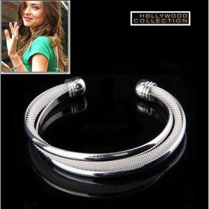 バングル ブレスレット 3連 シルバー メッシュ ミランダ カー コレクション|celeb-cz-jewelry