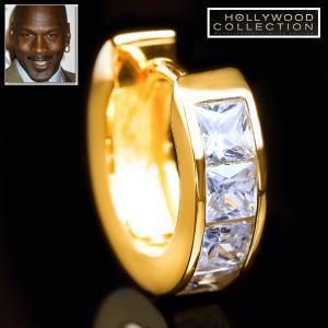 メンズ ピアス ダイヤモンド 24金 フープ 片耳 24KGP 16mm径 マイケル ジョーダン コレクション|celeb-cz-jewelry