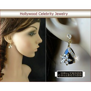 ピアス 揺れるフラワー 花 ブラック クリスタル 18金 アヴリル ラヴィーン コレクション celeb-cz-jewelry 04