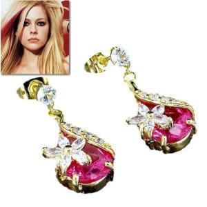 ピアス 揺れる ピンク クリスタル フラワー 花18金 アヴリル ラヴィーン コレクション|celeb-cz-jewelry