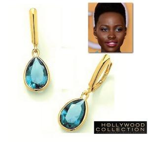 ピアス 揺れる アクアマリン ブルー ゴールド ティアドロップ ルピタ ニョンゴ コレクション|celeb-cz-jewelry