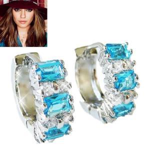 ピアス アクアマリン ブルー フープ ピアス 16mm外径   ミラ クニス コレクション celeb-cz-jewelry