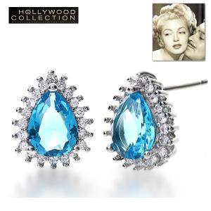 ピアス アクアマリン ブルー ティアドロップ ピアス「ホンキートンク」ラナ ターナー コレクション|celeb-cz-jewelry