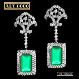 ピアス ブライダル 結婚式 エメラルド グリーン ヴィンテージ 揺れるピアス アールデコ コレクション|celeb-cz-jewelry