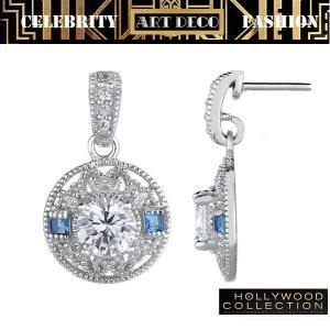 ピアス ダイアモンド サファイア ブルー ヴィンテージ 揺れる ピアス アールデコ コレクション celeb-cz-jewelry