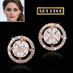 ピアス ダイヤモンド ピンクゴールド レトロ アールデコ オリビア パレルモ コレクション|celeb-cz-jewelry