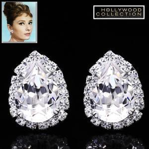 ピアス ダイヤモンド ティアドロップ セレブサイズ「ティファニーで朝食を」オードリー ヘップバーン コレクション|celeb-cz-jewelry