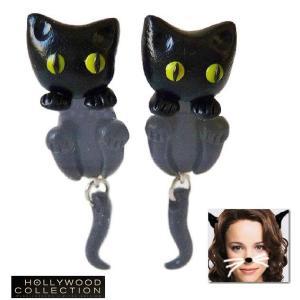 ピアス ねこ 猫 黒猫 幸運 ブラック キャット レイチェル マクアダムス コレクション celeb-cz-jewelry