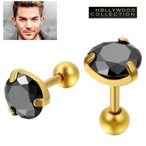 メンズ ピアス 片耳 ブラックダイヤモンド 黒ダイヤ ゴールド スタッド アダム ランバート コレクション|celeb-cz-jewelry