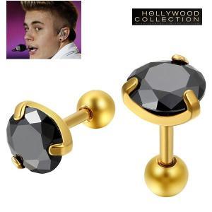 メンズ ピアス ブラックダイヤモンド 黒ダイヤ ゴールド スタッド 両耳 ジャスティン ビーバー コレクション|celeb-cz-jewelry