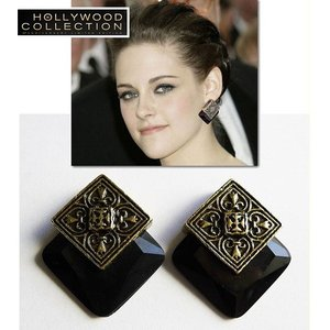 ピアス ヴィンテージ ブラック レトロ アンティーク ゴールド クリステン スチュワート コレクション|celeb-cz-jewelry