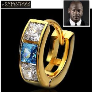メンズ ピアス 片耳 フープ ブルーダイヤモンド 24金 24KGP 12mm径 マイケル ジョーダン コレクション|celeb-cz-jewelry