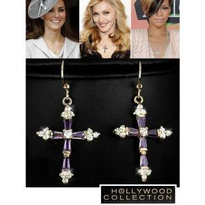 ピアス アメジスト クロス 十字架 18金 ピアス|ハリウッド セレブ コレクション【ハリウッドギフトバッグ付】|celeb-cz-jewelry