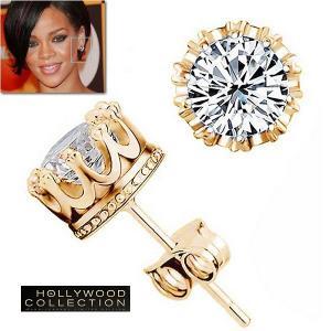 ピアス ダイヤモンド 14金 スタッド クイーン 王冠 バーメイル リアーナ コレクション|celeb-cz-jewelry