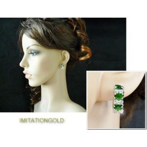 フープ ピアス エメラルド グリーン 16mm ミラ クニス コレクション celeb-cz-jewelry 05
