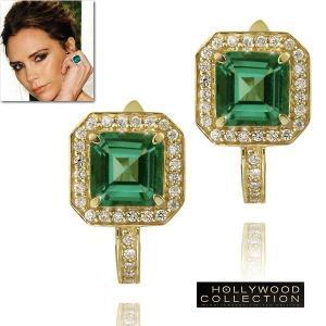 ピアス 揺れる ゴールド エメラルド グリーン 18金 ヴィクトリア ベッカムコレクション バニティフェア 雑誌掲載|celeb-cz-jewelry
