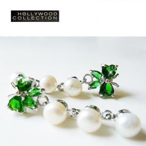 淡水パールピアス  蝶々 揺れるピアス エメラルド グリーン サラ ハ−ディング コレクション|celeb-cz-jewelry
