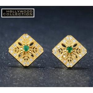 ピアス 天然 エメラルド 14金 ゴールド フィリグリー ヴィンテージ ハリウッドセレブ コレクション|celeb-cz-jewelry