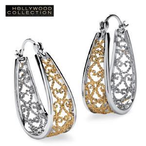 ピアス フープ フィリグリー 18金 ツートーン ハリウッド セレブ コレクション|celeb-cz-jewelry