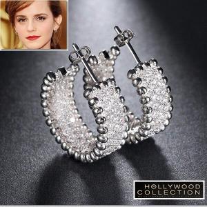 フープ ピアス ダイヤモンド マイクロパヴェ エレガント 20mm エマワトソン コレクション|celeb-cz-jewelry