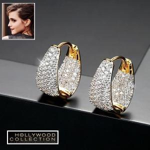 フープピアス 小さい 16mm 18金 ゴールド マイクロパヴェ ハギーピアス エマワトソン コレクション|celeb-cz-jewelry