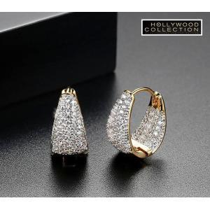 フープピアス 小さい 16mm 18金 ゴールド マイクロパヴェ ハギーピアス エマワトソン コレクション|celeb-cz-jewelry|02
