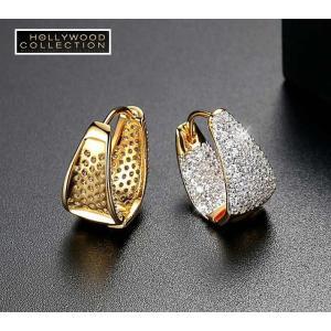 フープピアス 小さい 16mm 18金 ゴールド マイクロパヴェ ハギーピアス エマワトソン コレクション|celeb-cz-jewelry|03