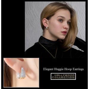 フープピアス 小さい 16mm 18金 ゴールド マイクロパヴェ ハギーピアス エマワトソン コレクション|celeb-cz-jewelry|04