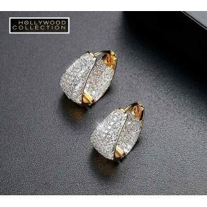 フープピアス 小さい 16mm 18金 ゴールド マイクロパヴェ ハギーピアス エマワトソン コレクション|celeb-cz-jewelry|05