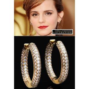 ピアス フープ 18金 ゴールド マイクロ パヴェ 25mm径 クラシック インサイドアウト スタイル エマ ワトソン コレクション|celeb-cz-jewelry