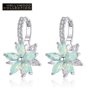 フープピアス 花 フラワー 揺れるピアス ミントグリーン ハリウッド セレブ コレクション|celeb-cz-jewelry