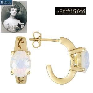 ピアス オパール ゴールド J フープ  ピアス|タイタニック ジュエリー コレクション|celeb-cz-jewelry
