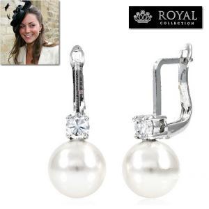 パールピアス 揺れる ダイヤモンド 結婚式 記念日 パーティ キャサリン妃 ロイヤルコレクション|celeb-cz-jewelry