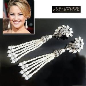 パール イヤリング ロング タッセル 結婚式 パーティ レトロ アールデコ ケイト ハドソン コレクション|celeb-cz-jewelry