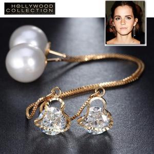 チェーン ピアス パール ハート アメリカンピアス ロング エマワトソンコレクション|celeb-cz-jewelry