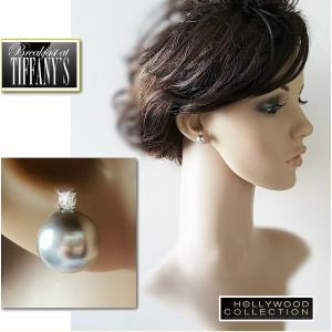 ピアス パール グレー 黒真珠 大粒 南洋 シェルパール 10mm径 ブラックパール 「ティファニーで朝食を」 オードリー ヘップバーン コレクション|celeb-cz-jewelry|04
