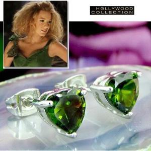 ピアス ハート ペリドット グリーン 7mm 8月誕生石 ブレイク ライブリー コレクション|celeb-cz-jewelry