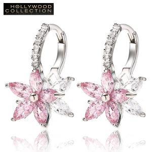フープピアス 花 フラワー 揺れるピアス ピンク ダイヤモンドCZ ハリウッドセレブコレクション|celeb-cz-jewelry